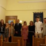 I ragazzi con Paolo Sanguineti, il sindaco e Lara Gianelli