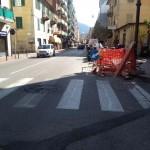 Lavori in corso in Via Mameli, a Rapallo