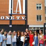 La squadra di Chiavari davanti agli studi Rai di via Teulada a Roma